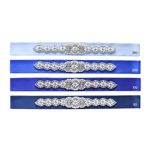 Wedding belt with beautiful rhinestone applique on blue satin ribbon