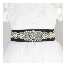 Load image into Gallery viewer, 006 Bridal satin sash with rhinestone applique with off white dress Ana Balahan