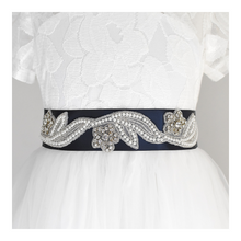 Load image into Gallery viewer, 023 Wedding belt with rhinestone applique with off white dress Ana Balahan