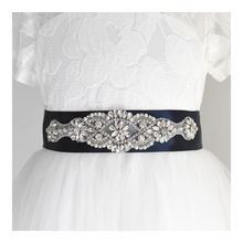 Load image into Gallery viewer, 035 Bridesmaid satin sash with rhinestone applique beads gems with off white dress Ana Balahan