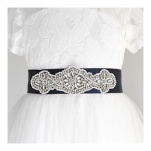 Load image into Gallery viewer, 068 Wedding sash with beads gems rhinestone applique with off white dress Ana Balahan