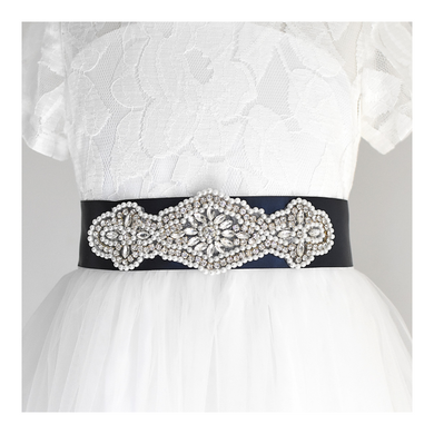 068 Wedding sash with beads gems rhinestone applique with off white dress Ana Balahan