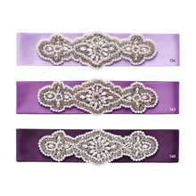 Load image into Gallery viewer, 068 Wedding sash with beads gems rhinestone applique Ana Balahan
