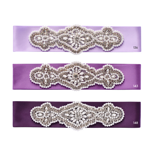 068 Wedding sash with beads gems rhinestone applique Ana Balahan