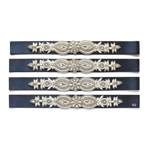 073 Wedding sash with beads gems rhinestone applique Ana Balahan