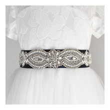 Load image into Gallery viewer, 073 Wedding sash with beads gems rhinestone applique with off white dress Ana Balahan