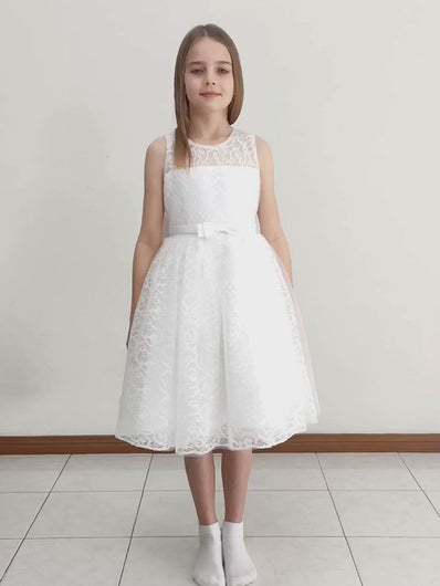 Video of Bella dress off-white tea length flower girl dress with big bow on the back
