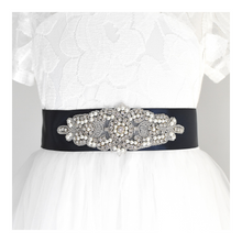 Load image into Gallery viewer, 104 Wedding sash with beads gems rhinestone applique with off white dress Ana Balahan