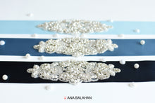 Load image into Gallery viewer, 104 rhinestone applique style wedding sash bride or bridesmaids belt blue colors by Ana Balahan