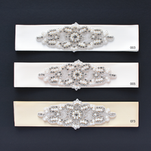 Load image into Gallery viewer, 104 rhinestone applique style wedding sash bride or bridesmaids belt ivory color shades by Ana Balahan