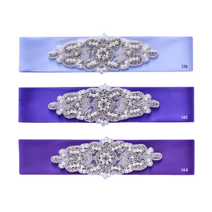 Wedding sash with beads gems rhinestone applique