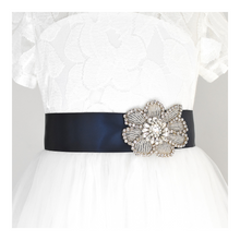 Load image into Gallery viewer, 123-1 Flower girl satin belt with rhinestone applique beads gems with off white dress Ana Balahan
