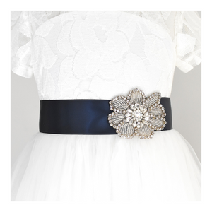 123-1 Flower girl satin belt with rhinestone applique beads gems with off white dress Ana Balahan