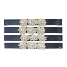 Load image into Gallery viewer, Christening satin sash with rhinestone applique crystals beads gems color 162 navy color satin ribbon Ana Balahan
