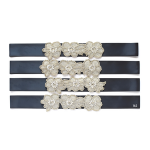 Christening satin sash with rhinestone applique crystals beads gems color 162 navy color satin ribbon Ana Balahan
