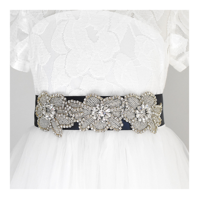 123-3 Christening satin sash with rhinestone applique beads gems with off white dress Ana Balahan