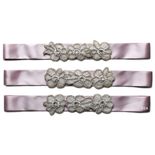 Load image into Gallery viewer, Beautiful bridal sash with a flower style rhinestone applique Ana Balahan