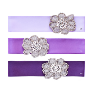 Flower girl satin sash with rhinestone applique beads gems Ana Balahan