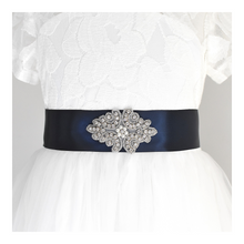 Load image into Gallery viewer, 138 Baptism satin belt with rhinestone applique beads gems with off white dress Ana Balahan
