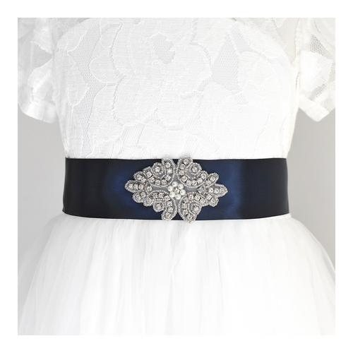 138 Baptism satin belt with rhinestone applique beads gems with off white dress Ana Balahan