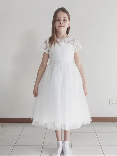Libby soft white color dress with heart on the back Ana Balahan