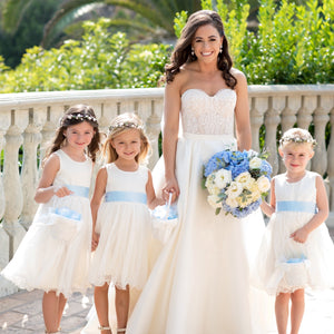 Adelina dress Ana Balahan Beautiful bride with girls in classic style medium length dress