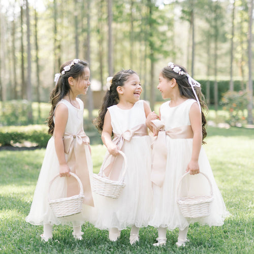 Adelina dress Ana Balahan Three laughing girls in light ivory tea length flower girl dress