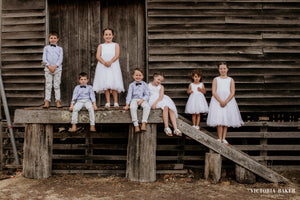 Adelina dress Ana Balahan flower girls and page boys at wedding