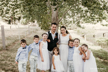 Load image into Gallery viewer, Adelina dress Ana Balahan wedding photo bride groom with flower girls and pageboys
