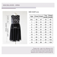 Load image into Gallery viewer, Anna black dress, Size chart, Ana Balahan