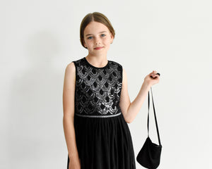Anna black sequin party dress with pleated skirt Ana Balahan