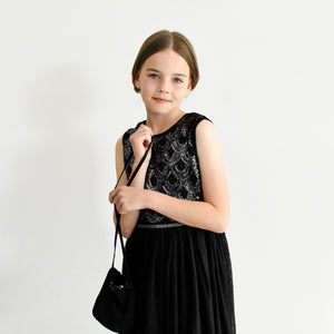 Anna black sequined party dress with pleated skirt front view Ana Balahan