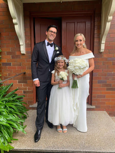 Annabelle dress Ana Balahan Newlyweds with their flower girl wearing beautiful anabelle classic flower girl dress