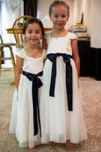 Load image into Gallery viewer, Annabelle dress Ana Balahan two pretty girls in floor length dresses with navy color belts