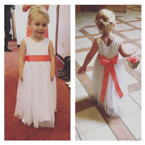 Little cute mini bride in white Grace floor length dress