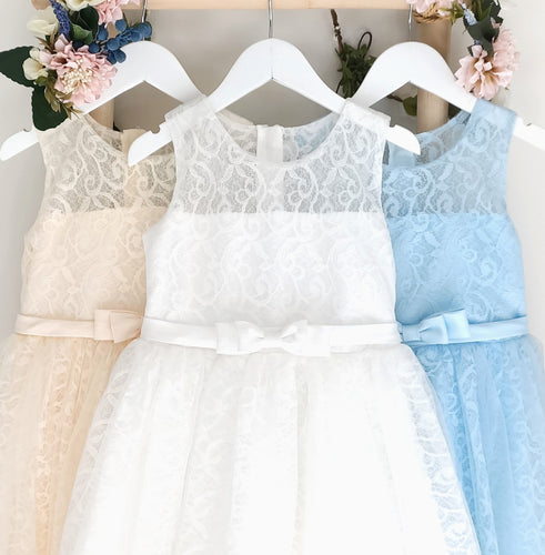 Bella white cream and blue lace girl dress front view