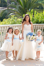 Load image into Gallery viewer, Bride with three flower girls in Adelina flower girl dresses with blue color sash Ana Balahan