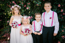 Load image into Gallery viewer, Flower girls wearing fancy baby dresses for wedding with stunning flowers and leaves headpiece and boys wearing matching colour accessories. Perfect for romantic or country wedding.