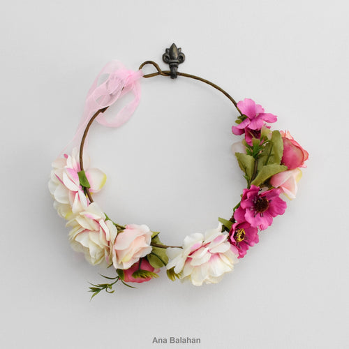 Flower girl's pink floral crown
