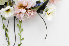 Load image into Gallery viewer, Blusg pink, ivory and green floral crown closer view
