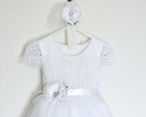 Eleonor christening dress with lace sleeves front view Ana Balahan