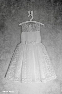 White christening lace girl dress Bella front view