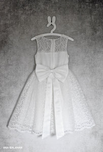 White christening lace girl dress Bella with big bow on the back