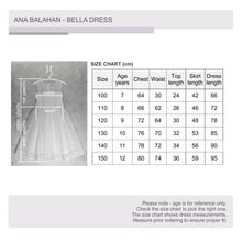 Load image into Gallery viewer, Junior bridesmaid Melbourne Bella flower girl dress size chart