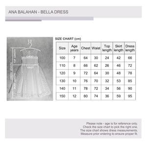 Junior bridesmaid Melbourne Bella flower girl dress size chart