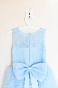 Blue lace flower girl dress Bella back view