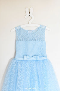 Blue lace girl dress Bella front view
