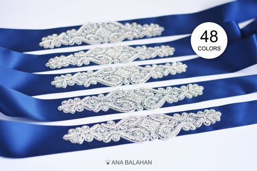 Navy sashes with exquisite rhinestone appliques