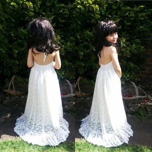 Florence lace flower girl dress with open back and skirt with train front and back views