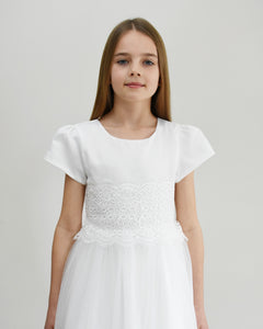 Eleonor christening dress with sleeves decorated with lace Ana Balahan